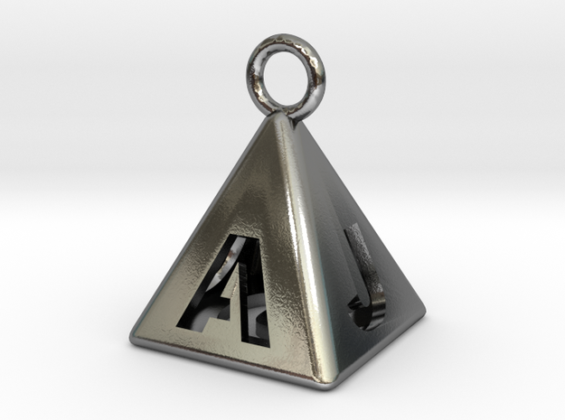 Pyramid 5-initials in Polished Silver