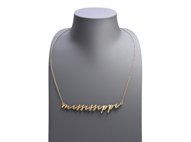Mississippi - Calligraphic Pendant in Polished Gold Steel