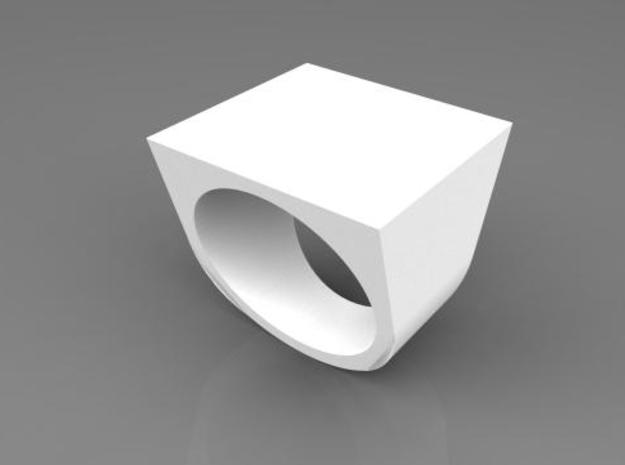 Square Ring in White Strong & Flexible Polished