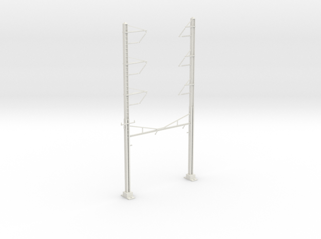 PRR CH 3PHASE+3PHASE  CATENARY STEADY CURVE in White Natural Versatile Plastic