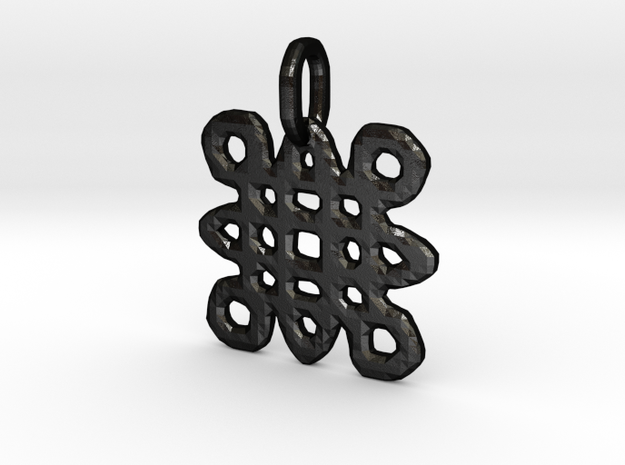 Samhain Glyph Charm in Matte Black Steel