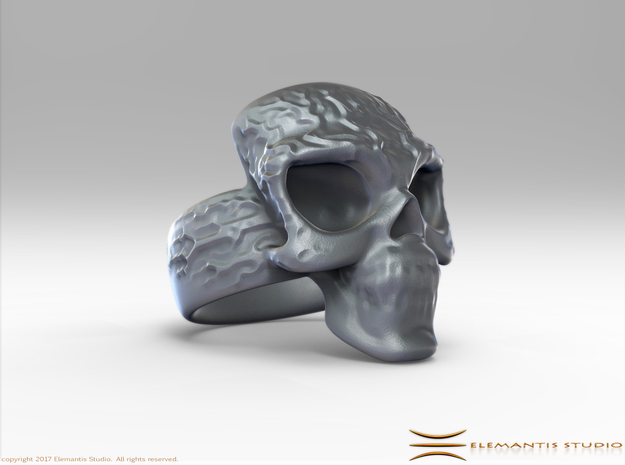 Elemental Skull Ring 'Lightning' in White Premium Versatile Plastic: 6 / 51.5