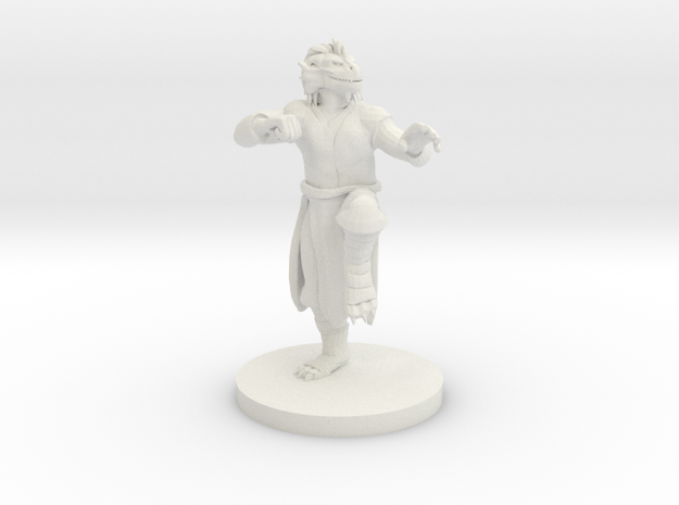 Dragonborn Male Monk in White Natural Versatile Plastic