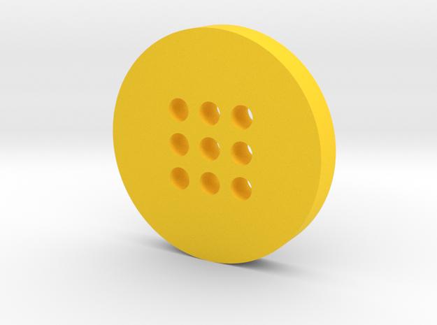 Large Alphabet Button in Yellow Processed Versatile Plastic