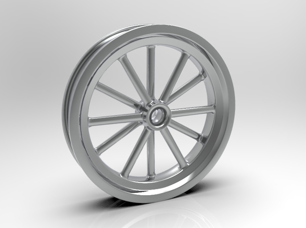 1:8 Front American Five Spoke Wheel in White Strong & Flexible Polished