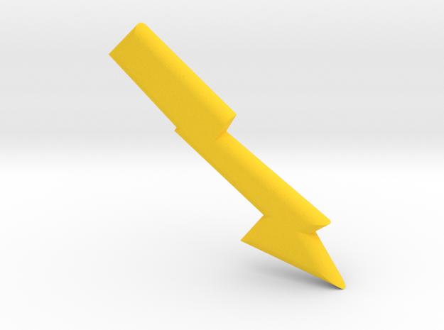 Lightening bolt in Yellow Processed Versatile Plastic