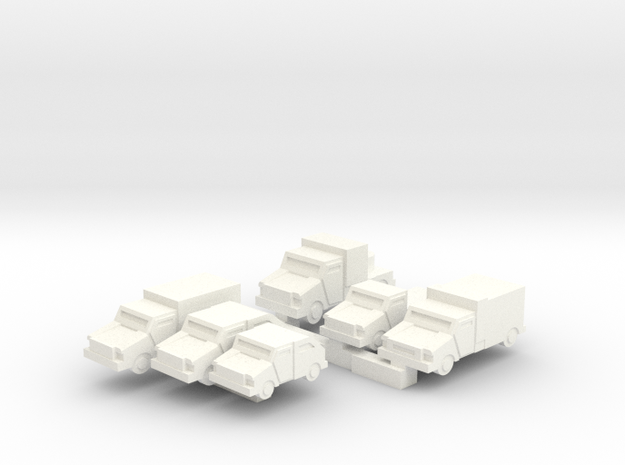 Mantis Small Light Vehicles (Enlarged +25%) in White Processed Versatile Plastic