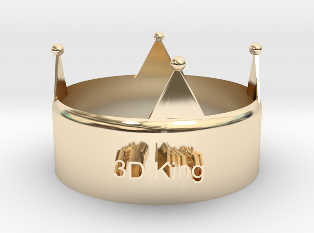 3D King Crown in 14k Gold Plated Brass