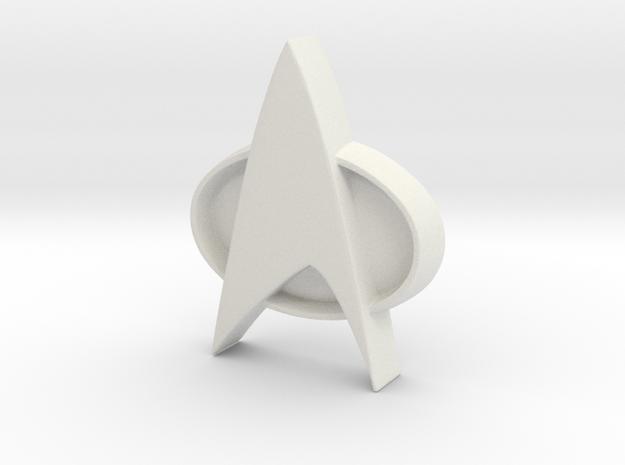 Star Trek Tng Badge in White Natural Versatile Plastic