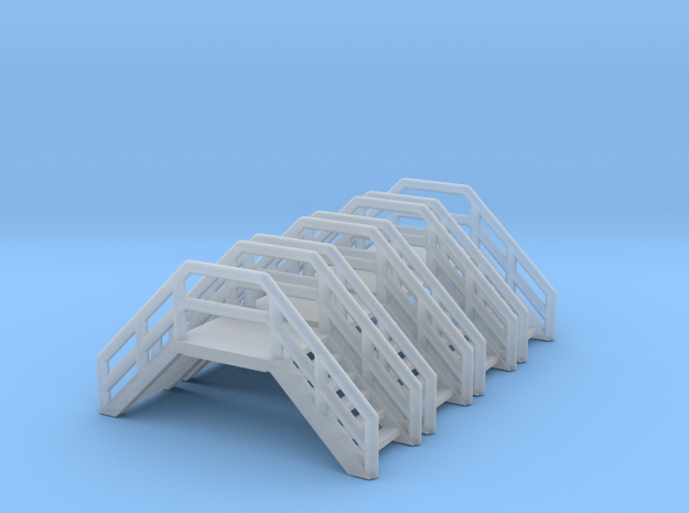 Z Scale Crossover Stairs (4pc) in Smooth Fine Detail Plastic