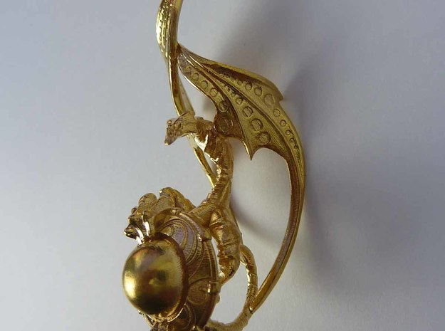 LUX DRACONIS right earring  in Raw Brass