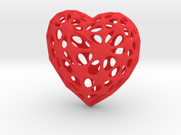 Voronoi Heart in Red Processed Versatile Plastic