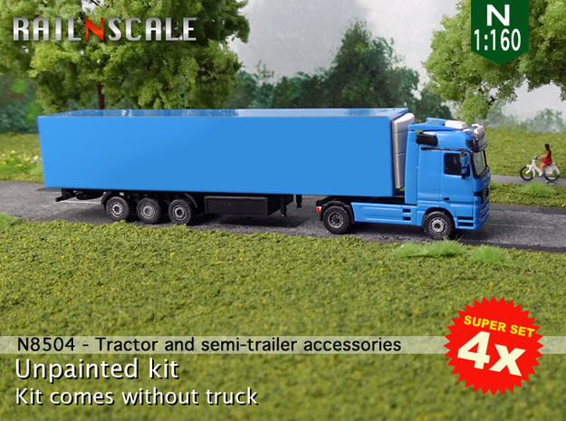 SUPER SET 4x Tractor and semi-trailer accessories  in Frosted Extreme Detail