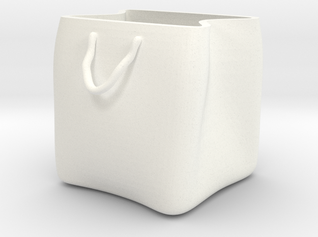 Shopping bag plant pot in White Processed Versatile Plastic