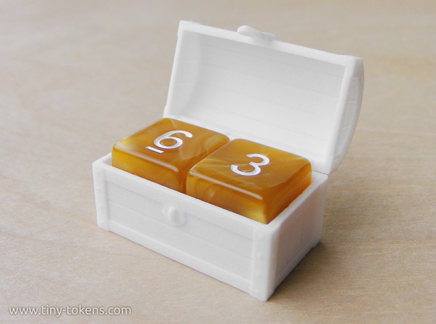 Double MTG Treasure Chest Token (16 mm dice chest) in White Strong & Flexible Polished