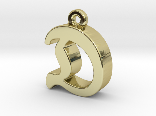 D2 - Pendant - 3mm thk. in 18k Gold Plated Brass