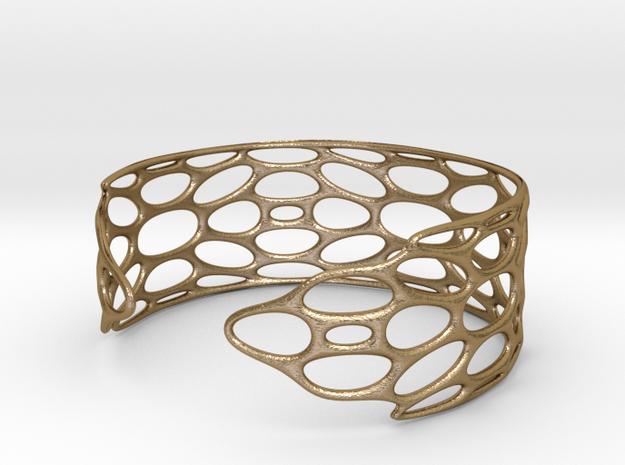 BRACELET_TIS_bracelet_CUBE_03c_cuff in Polished Gold Steel: Medium