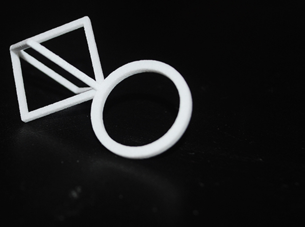 Ring With Half  Box size 9 in White Processed Versatile Plastic