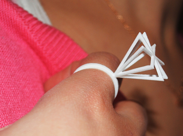 Ring With Pyramid size 9 in White Processed Versatile Plastic