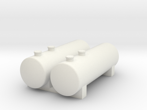 N Scale Tank Farm 2x60mm in White Natural Versatile Plastic