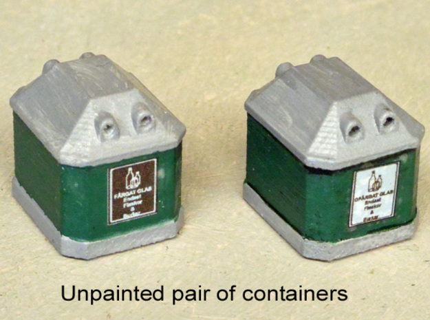 Two N scale Waste Glass Containers  in Smooth Fine Detail Plastic