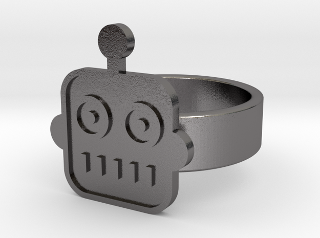 Robot Ring in Polished Nickel Steel: 10 / 61.5