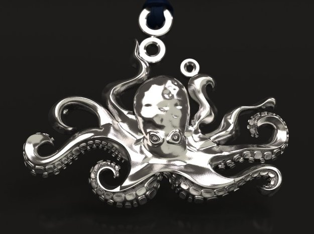 Octopus pendant in Raw Silver
