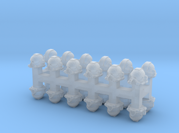 15mm Space Infantry Helmets (24pcs) in Smoothest Fine Detail Plastic