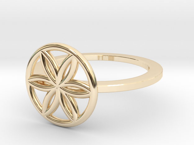Flower of Life Ring, Size 4.5 in 14K Yellow Gold