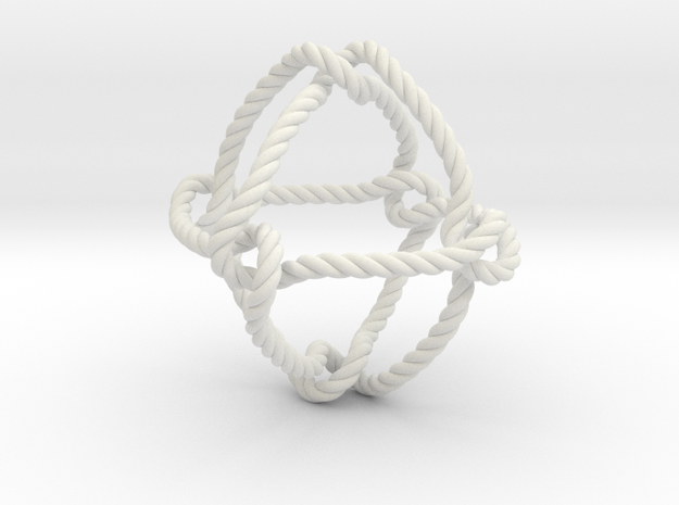 Octahedral knot (Rope) in White Natural Versatile Plastic: Extra Small