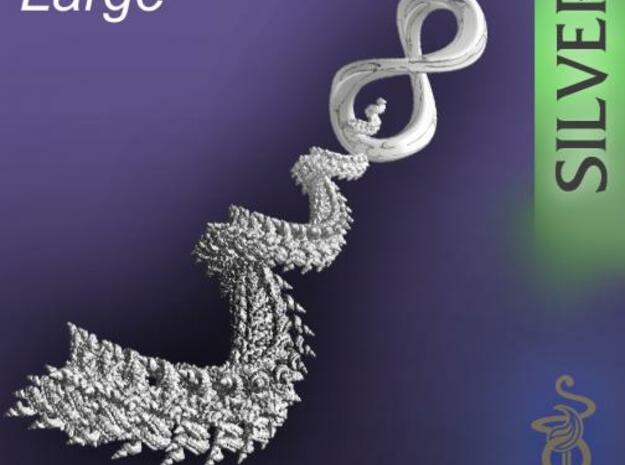 3D fractal pendant, 'Spiralling Spirals' large 3d printed 1A