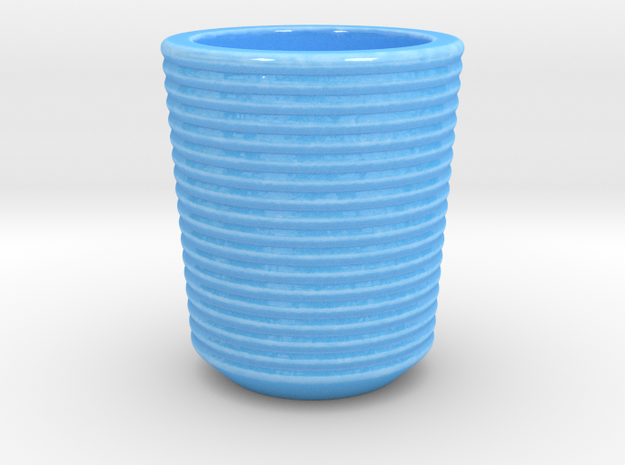 Shot glass 6 Curved surface(Porcelian) in Gloss Blue Porcelain