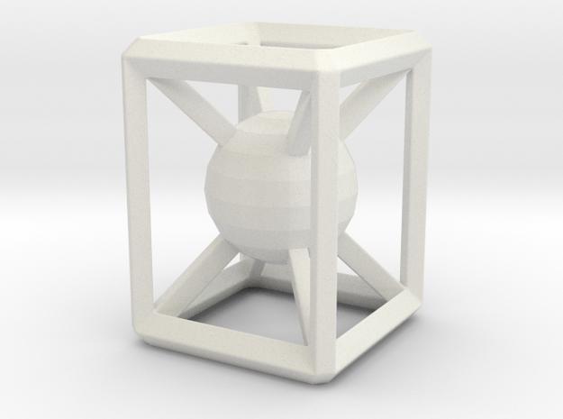 Jailed sphere in White Natural Versatile Plastic