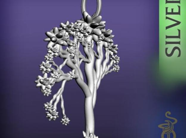 'Blossom tree' a fractal pendant 4.5cm 3d printed 1