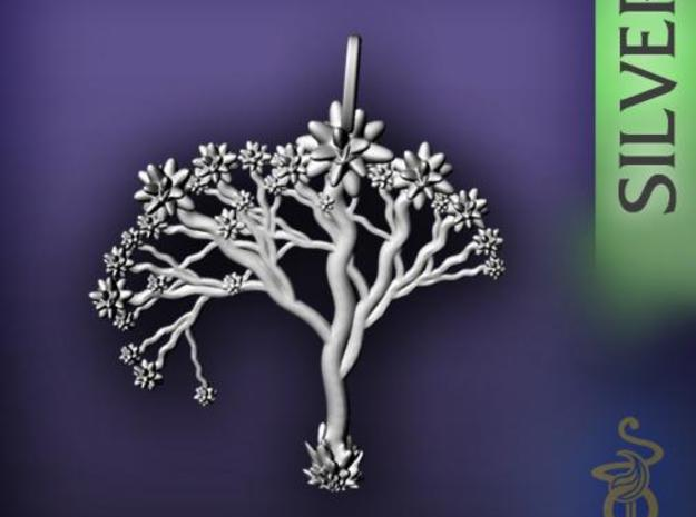 'Blossom tree' a fractal pendant 4.5cm 3d printed 3
