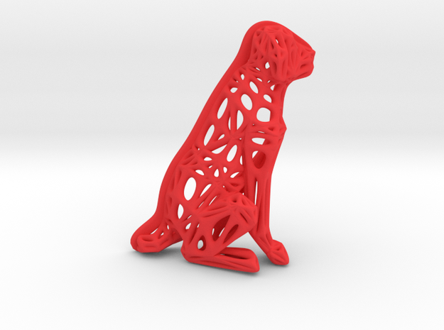 Voronoi Dog Sitting in Red Processed Versatile Plastic
