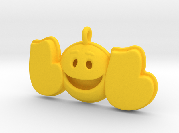 44 -LOL-SMILEY FACE-DOME  in Yellow Strong & Flexible Polished: Extra Small