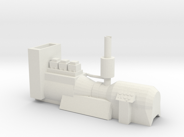O Scale 23 Ton Box Cab Engine Generator w Speaker  in White Natural Versatile Plastic