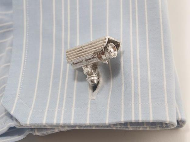 CCTV surveillance camera cufflinks 3d printed Blue cuff