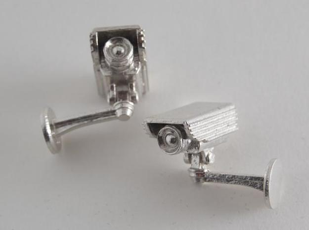CCTV surveillance camera cufflinks 3d printed White background 3