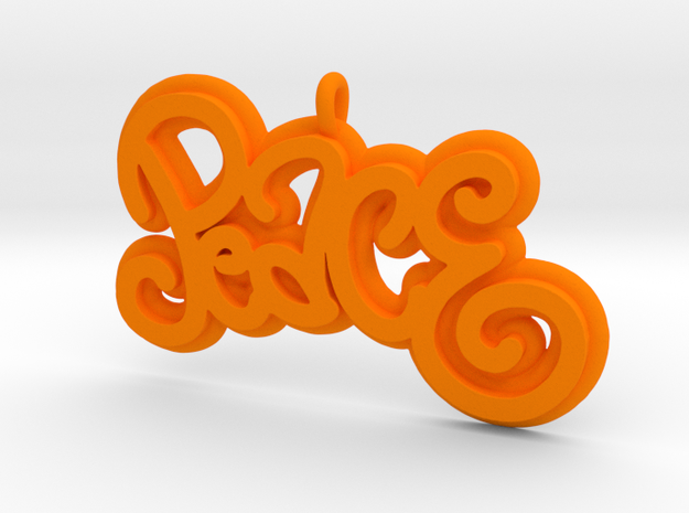 46 -PEACE -CURLY WRITING in Orange Processed Versatile Plastic: Extra Small