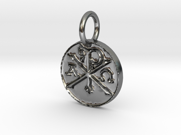 Chi Rho Coin Thin Edge in Polished Silver