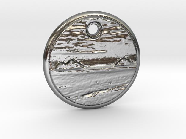 Hawaiian Mokulua Islands Pendant in Polished Silver