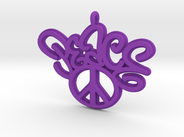 47-PEACE - CURLY-PEACE SIGN in Purple Processed Versatile Plastic: Extra Small