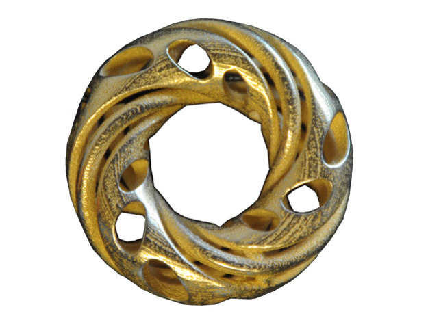 Double Trefoil & Hidden Mobius  in Polished Gold Steel