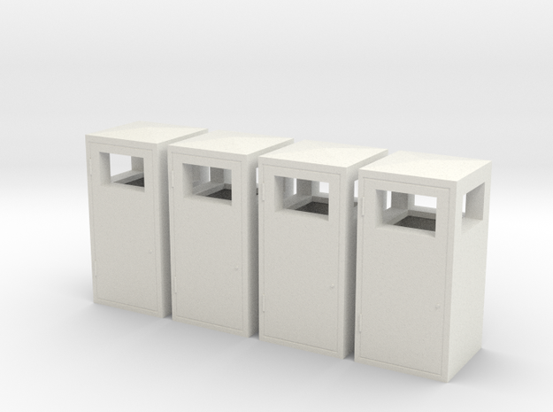 1:32nd litter bins for dioramas in White Strong & Flexible