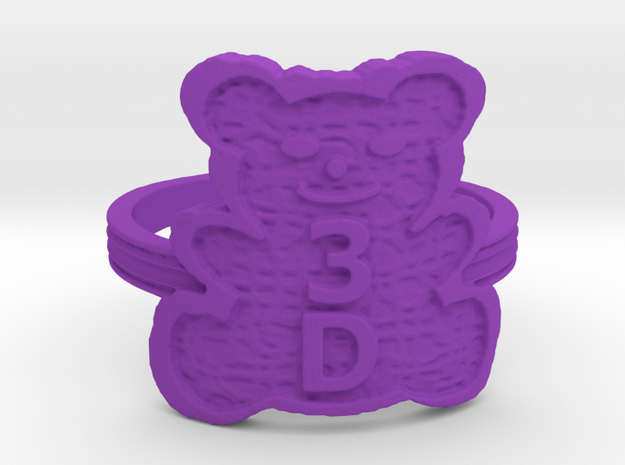 3D Magic Teddy Bear Ring in Purple Processed Versatile Plastic: 5 / 49
