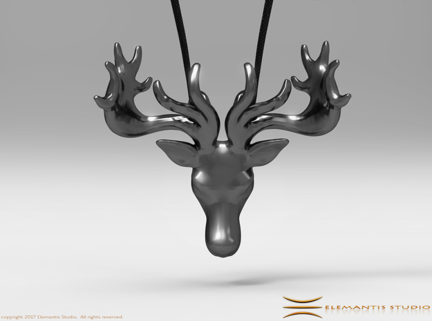 Faceted Reindeer Pendant  in Polished Bronzed Silver Steel: Small