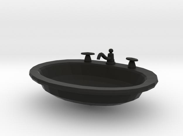 'Finer Fare' Drop-in Bathroom Sink 1:12 Dollhouse in Black Strong & Flexible