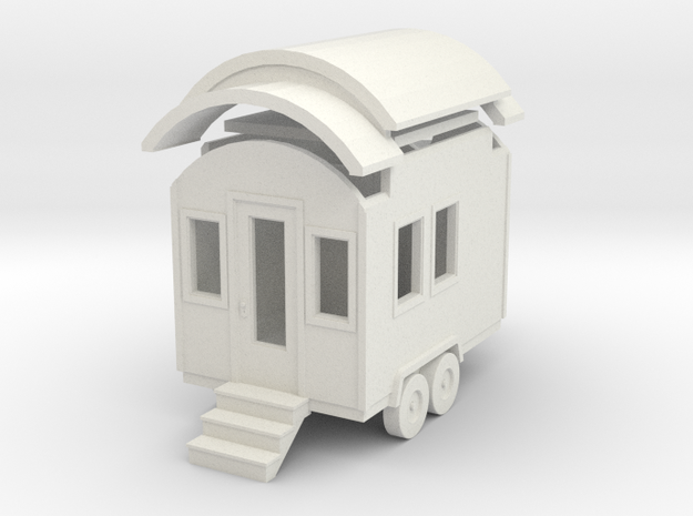 Tiny House #1 - 1:87 Scale Miniature in White Natural Versatile Plastic